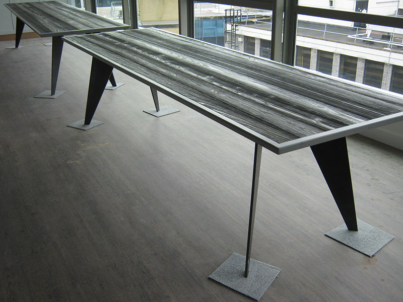 Two boardroom tables, mild steel construction