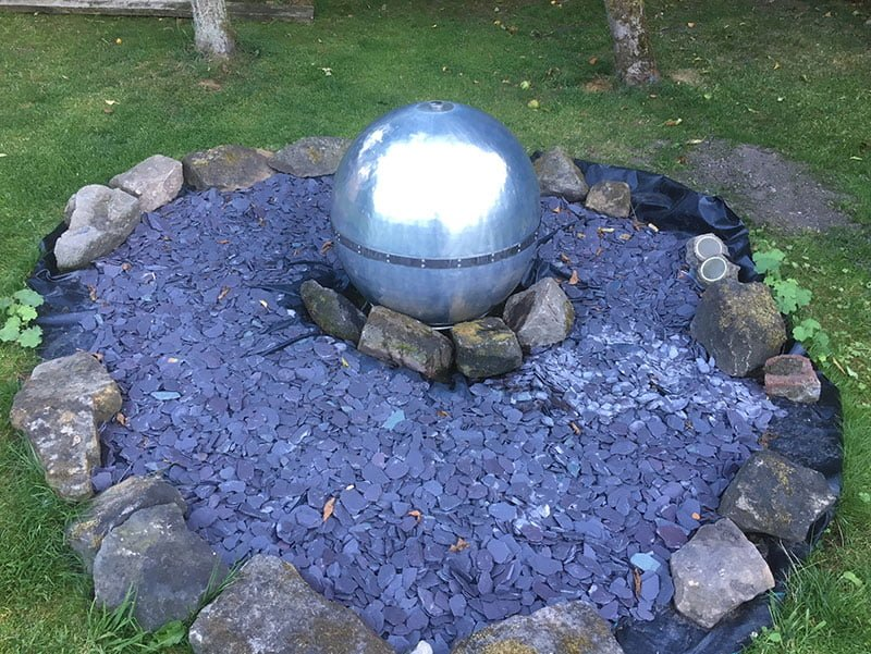Stainless steel sphear water feature